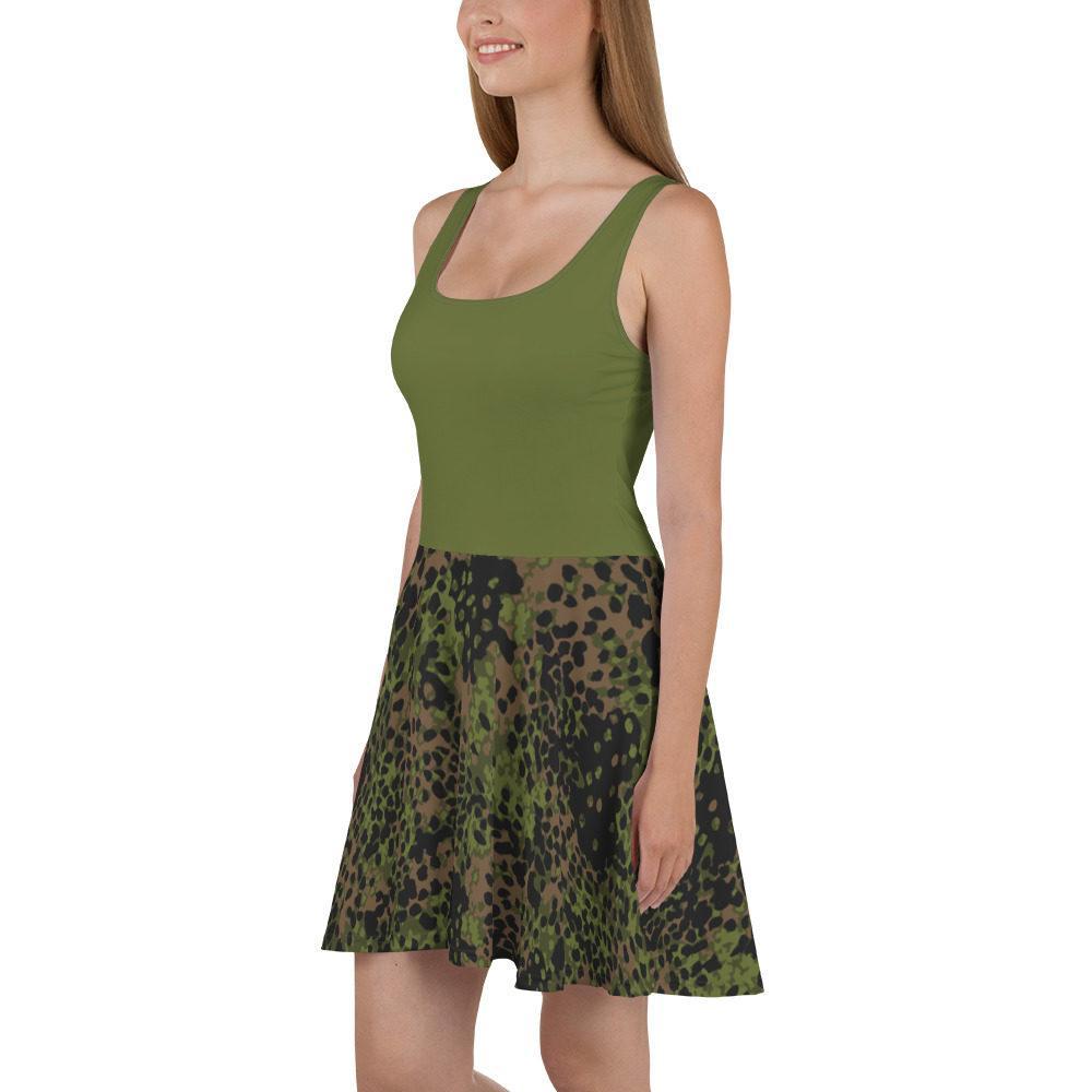 WWII Germany platanenmuster spring Camouflage haut vert Skater Dress