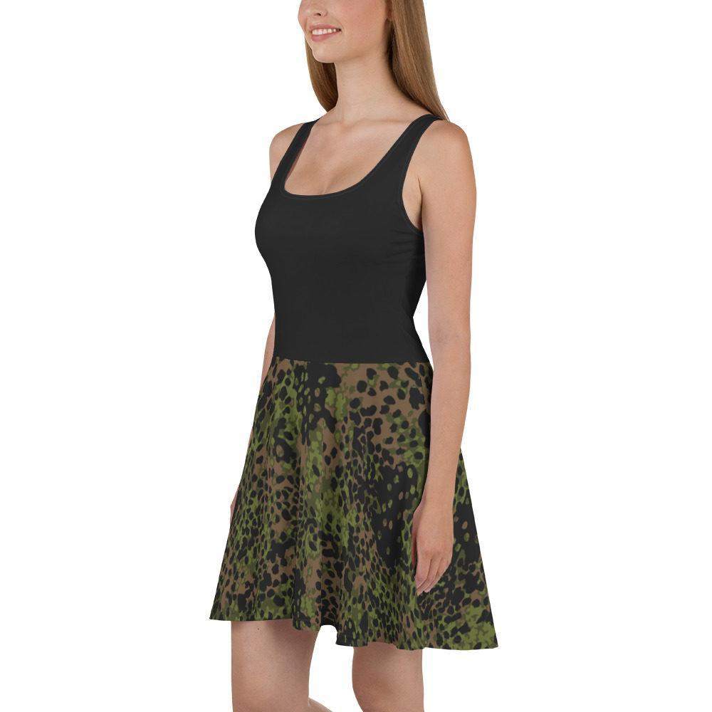 WWII Germany platanenmuster spring Camouflage haut noir Skater Dress