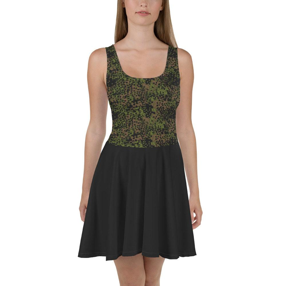 WWII Germany platanenmuster spring Camouflage bas noir Skater Dress