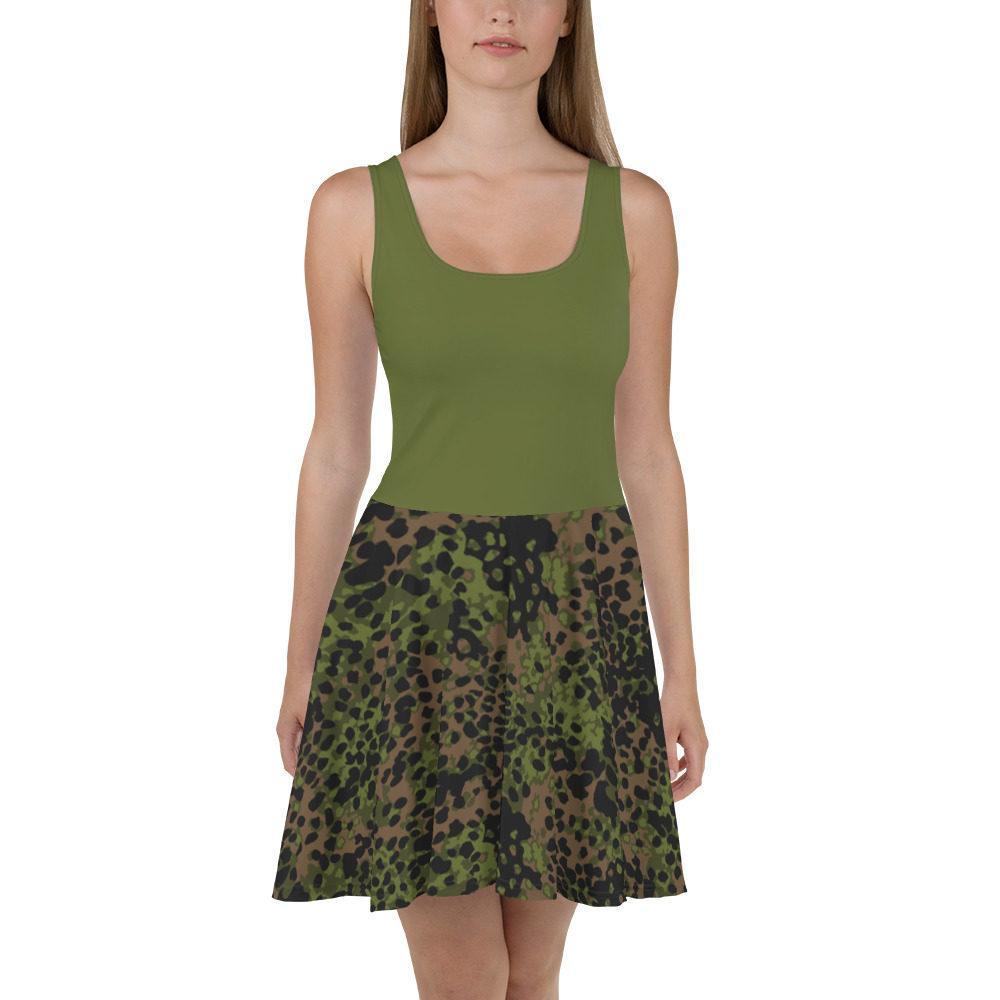 mockup 28f6ffd7 - WWII Germany platanenmuster spring Camouflage haut vert Skater Dress