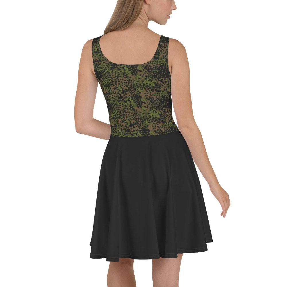 mockup 4c3f3412 - WWII Germany platanenmuster spring Camouflage bas noir Skater Dress