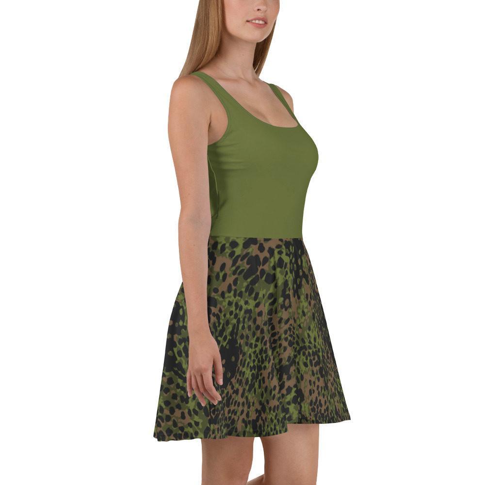 mockup c19ab3c5 - WWII Germany platanenmuster spring Camouflage haut vert Skater Dress