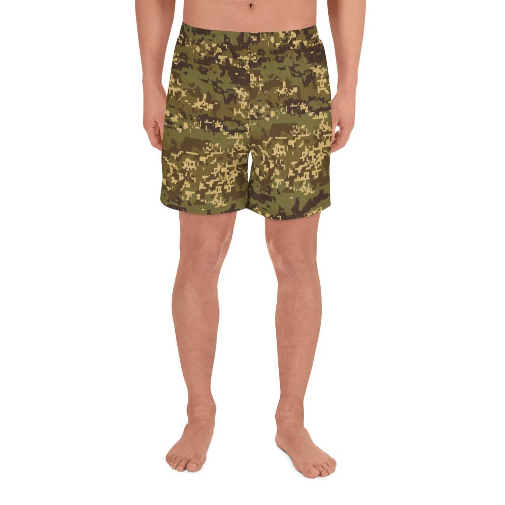 Austrian Jagdkommando Pixeltarnung Temperate Camouflage Men's Athletic Long Shorts