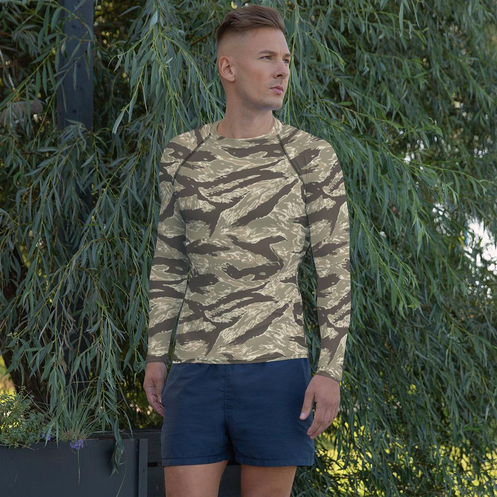 US Desert Tiger Stripes Camouflage Men's Rash Guard