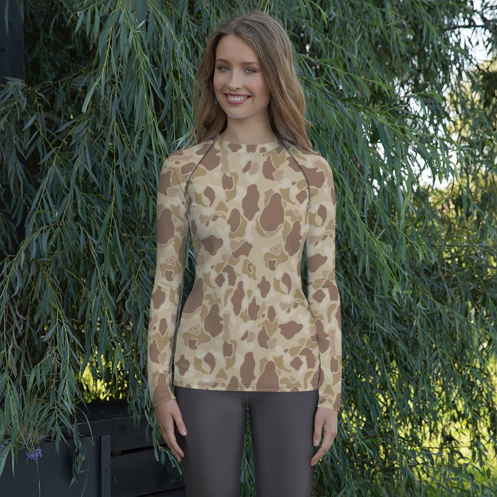 US WWII Duck Hunter Autumn Camouflage Women's Rash Guard