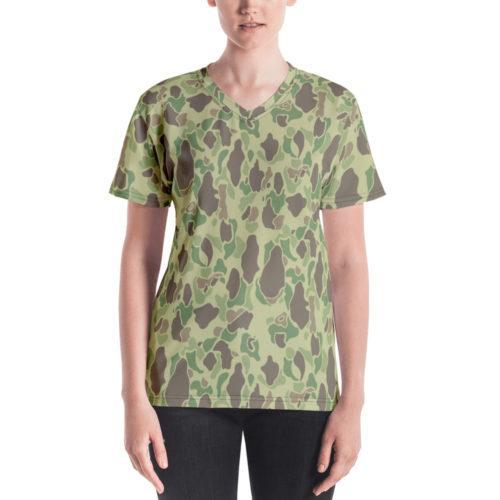 US WWII Duck Hunter Summer Camouflage Women's V-Neck T-Shirt