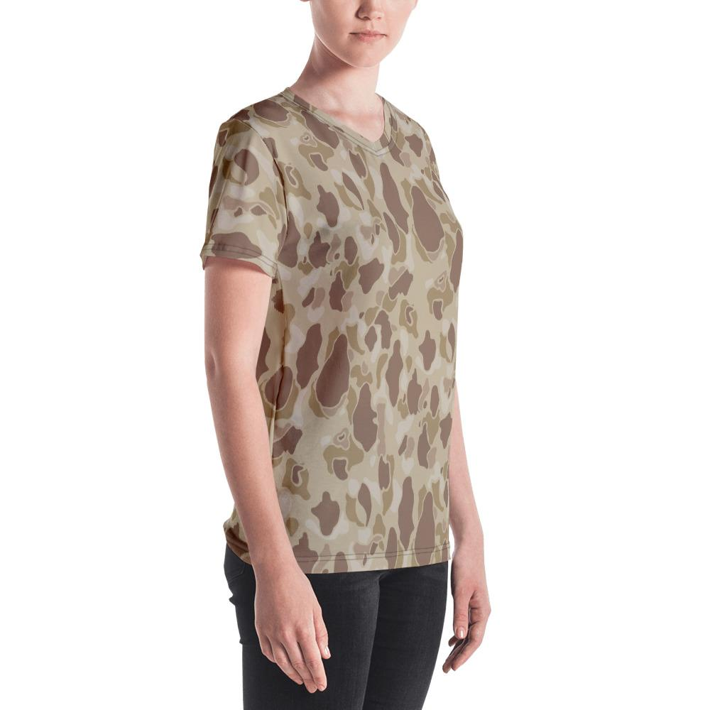 US WWII Duck Hunter Autumn Camouflage Women's V-Neck T-Shirt