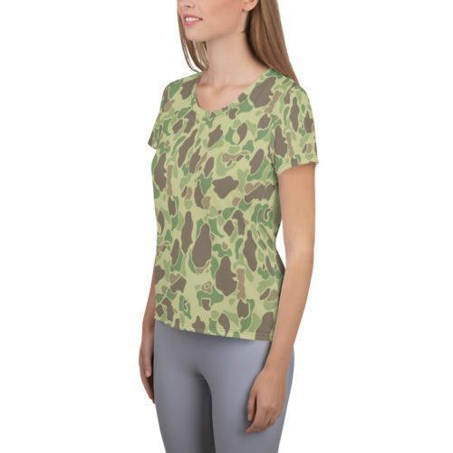 US WWII Duck Hunter Summer Camouflage Women's Athletic T-Shirt