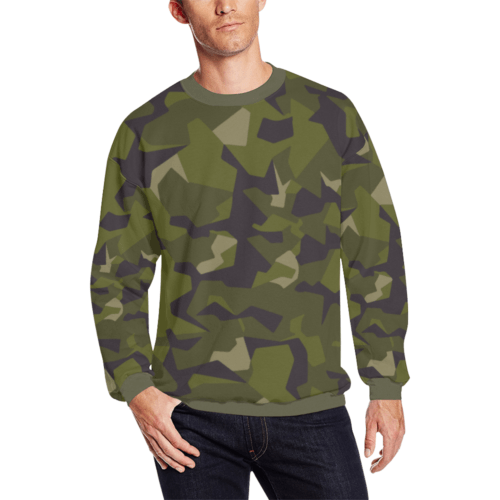 Swedish M90 woodland camouflage Men's Oversized Fleece Crew Sweatshirt
