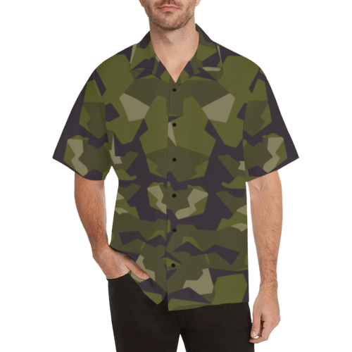 swedish M90 woodland camouflage Relaxed Short Sleeve Shirt with Lapel Collar