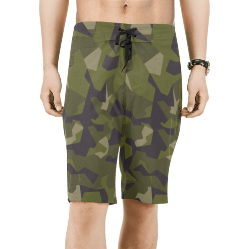 swedish M90 woodland camouflage Men's Board Shorts