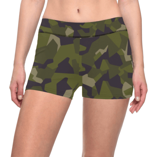 Swedish M90 woodland camouflage All Over Print Short Leggings
