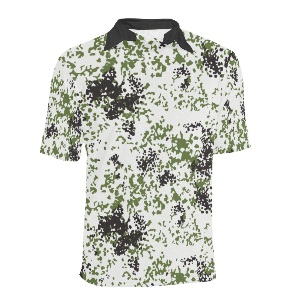 Snow Flecktarn Schneetarn Fleck camouflage black collar Men's Polo Shirt