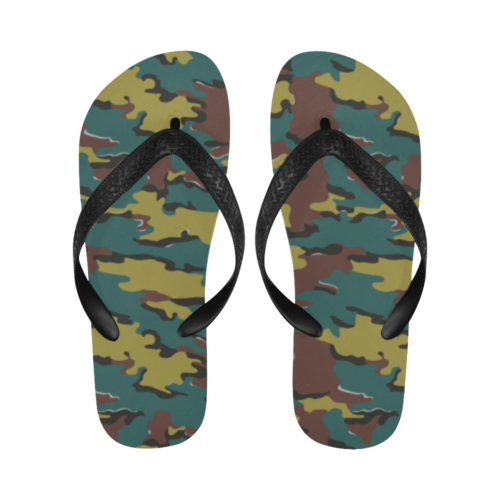 Belgian Jigsaw camouflage Flip Flops for Men/Women Free Shipping
