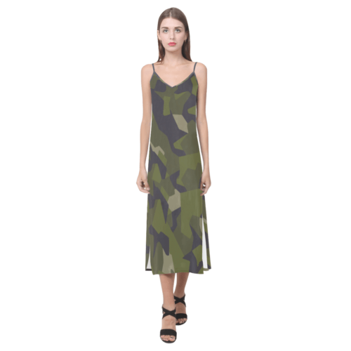 Swedish M90 woodland camouflage V-Neck Open Fork Long Dress