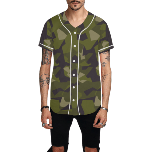 Swedish M90 woodland camouflage Baseball Jersey