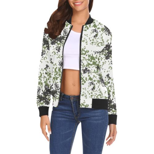 Snow Flecktarn Schneetarn Fleck camouflage Bomber Jacket for Women
