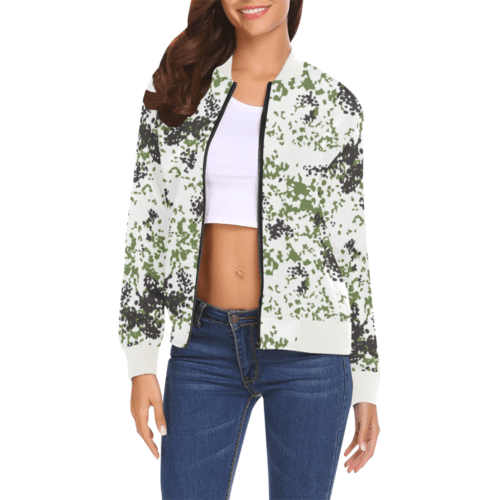 Snow Flecktarn Schneetarn Fleck camouflage white collar Bomber Jacket for Women