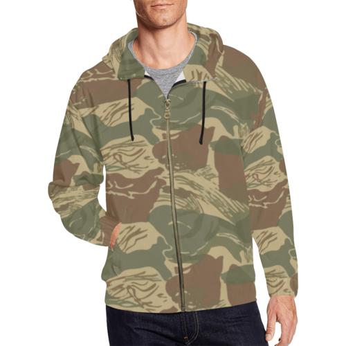 Rhodesian Brushstroke camouflage Full Zip Hoodie for Men