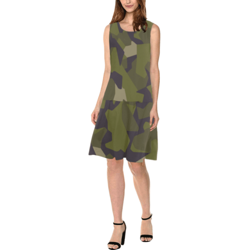 Swedish M90 woodland camouflage Sleeveless Splicing Shift Dress