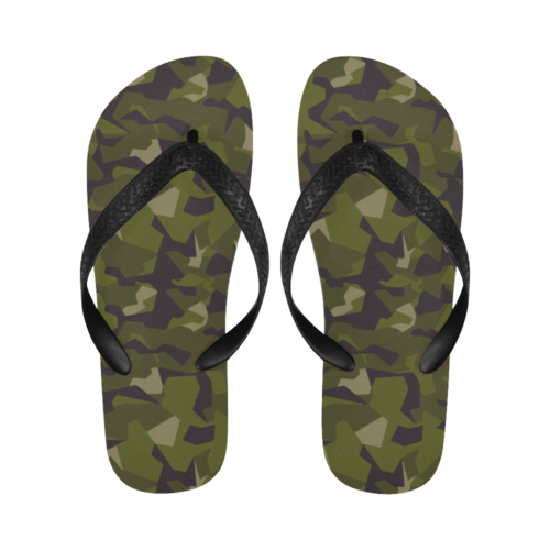 Swedish M90 woodland camouflage New Flip Flops for Men/Women Free Shipping (Both Customized)