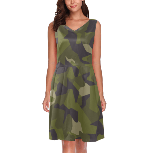 Swedish M90 woodland camouflage Chryseis Sleeveless Pleated Dress