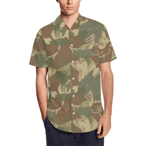 rhodesian brushstroke camouflage Men's Short Sleeve Shirt with Lapel Collar (Model T54)