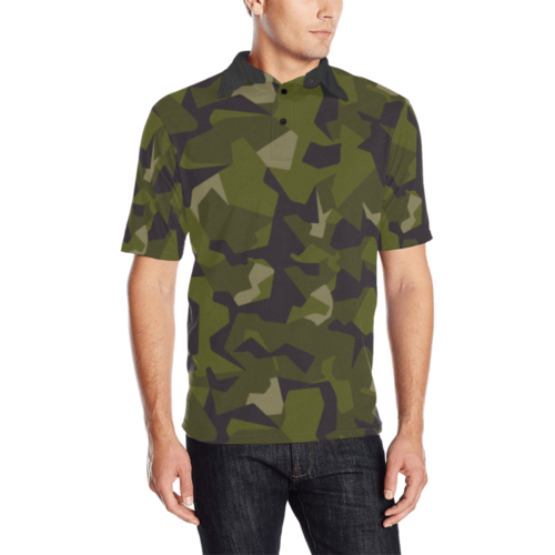 Swedish M90 woodland camouflage Men's Polo Shirt