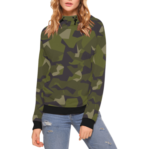 Swedish M90 camouflage High Neck Pullover Hoodie for Women