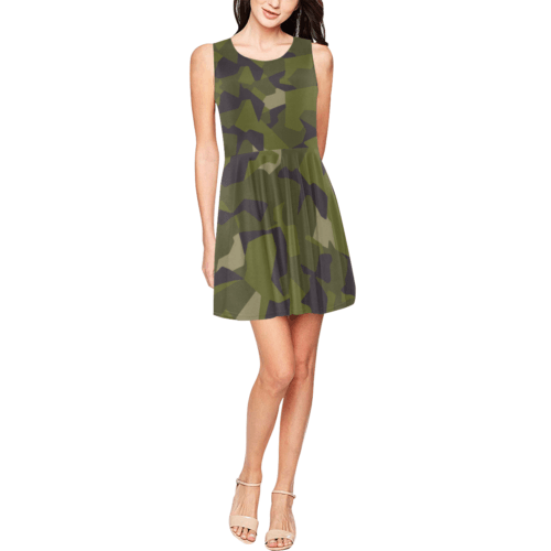 Swedish M90 woodland camouflage Thea Sleeveless Skater Dress