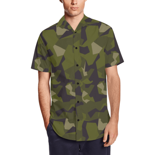 swedish M90 woodland camouflage Men's Short Sleeve Shirt with Lapel Collar