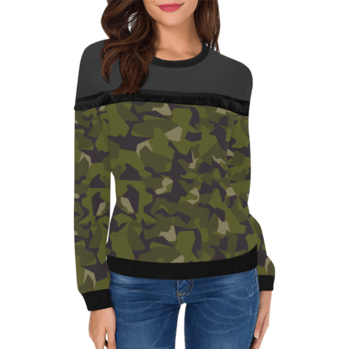 Swedish M90 woodland camouflage Women's Fringe Detail Sweatshirt