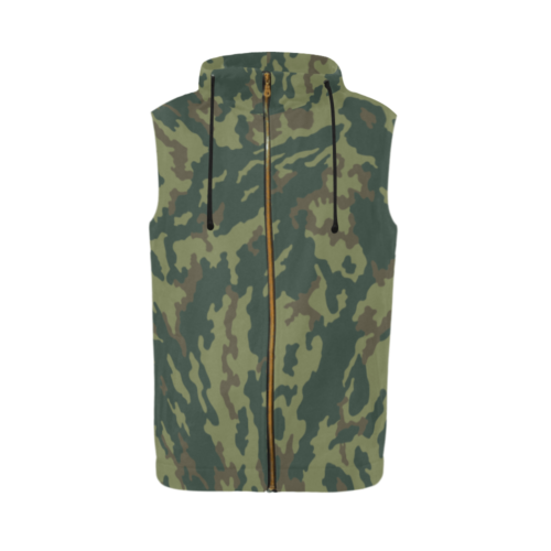 Russian VSR 3TsV Mountain Dubok Camouflage Sleeveless Zip Up Hoodie for Men