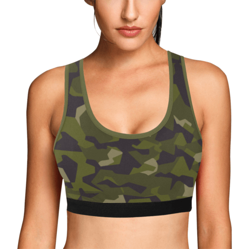 swedish M90 woodland camouflage Women's Sports Bra