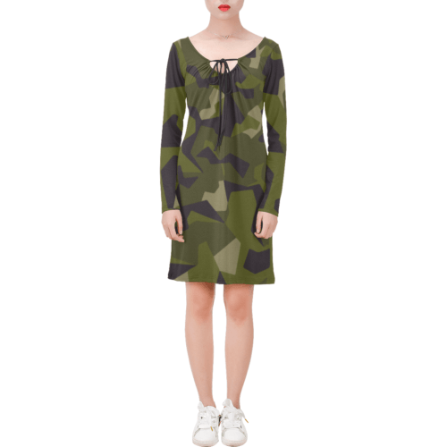 Swedish M90 woodland camouflage Long Sleeve String Tie Dress