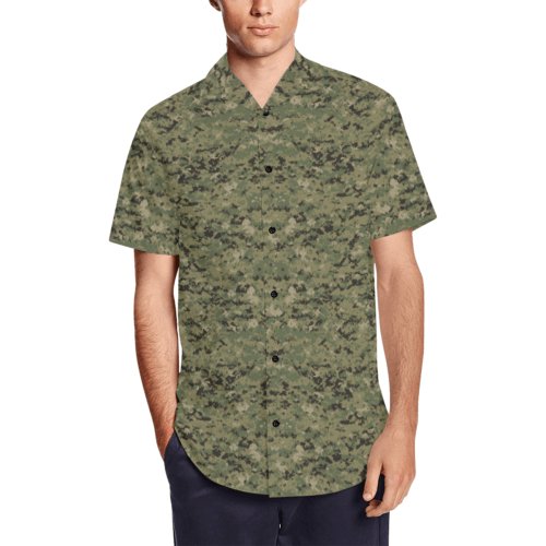 US AOR2 camouflage Men's Short Sleeve Shirt with Lapel Collar