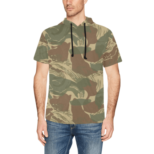 Rhodesian Brushstroke camouflage Short Sleeve Hoodie for Men