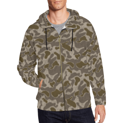 Austrian Sumpfmuster late steintarn camouflage Full Zip Hoodie for Men