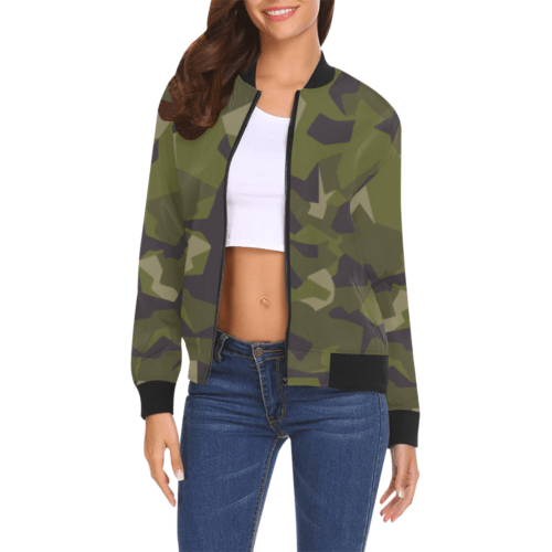 Swedish M90 woodland camouflage Bomber Jacket for Women