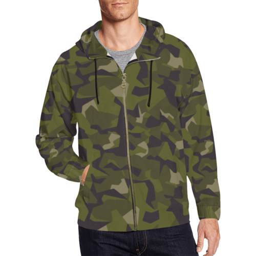 Swedish M90 Camouflage Full Zip Hoodie for Men
