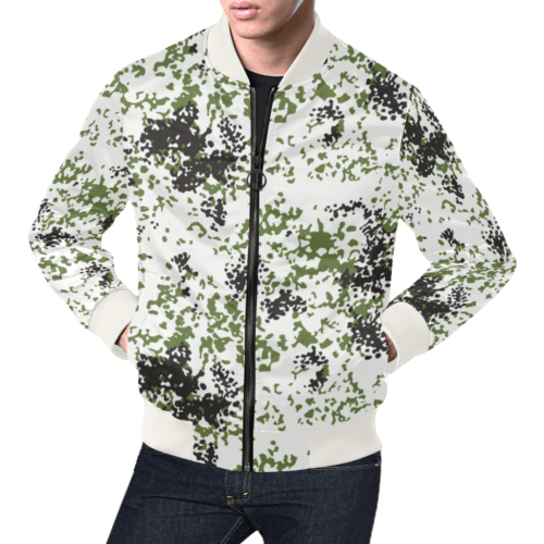 Snow Flecktarn Schneetarn Fleck camouflage white collar Bomber Jacket for Men