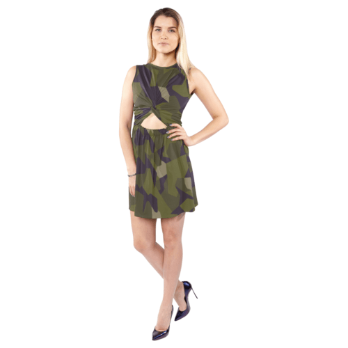 Swedish M90 woodland camouflage Sleeveless Cutout Waist Knotted Dress