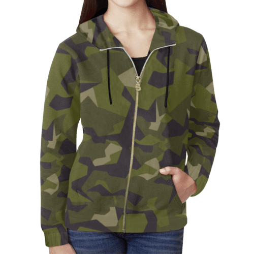 swedish M90 woodland camouflage Full Zip Hoodie for Women