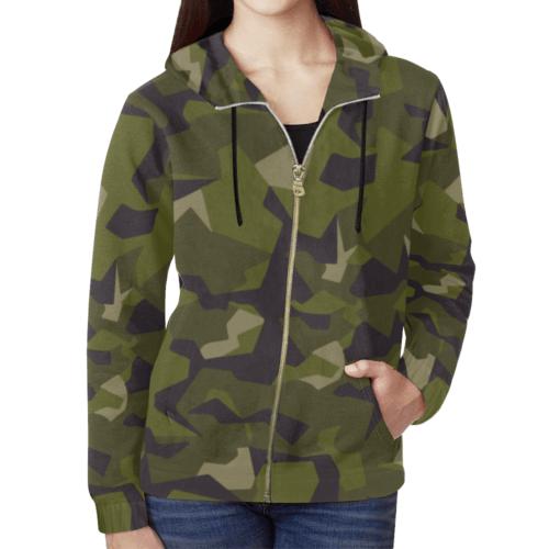 swedish M90 woodland camouflage Full Zip Hoodie for Women