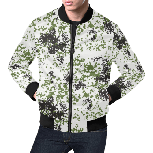 Snow Flecktarn Schneetarn Fleck camouflage black collar Bomber Jacket for Men