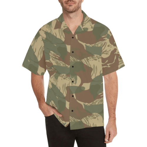 rhodesian brushstroke camouflage Relaxed Short Sleeve Shirt with Lapel Collar