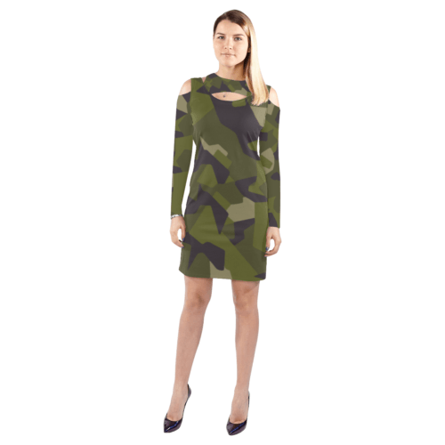 Swedish M90 woodland camouflage Cold Shoulder Long Sleeve Dress
