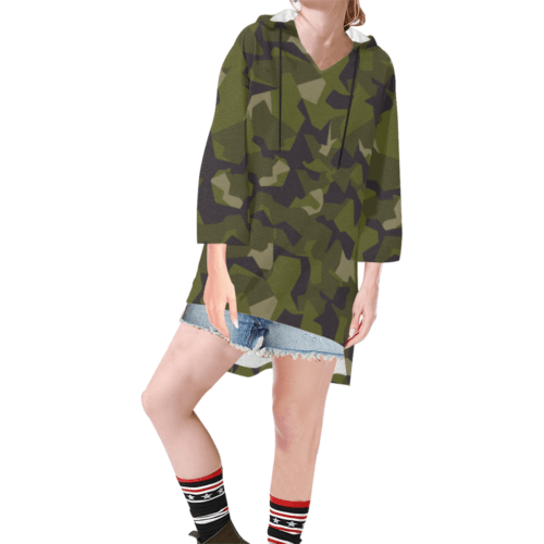 Swedish M90 camouflage Step Hem Tunic Hoodie for Women