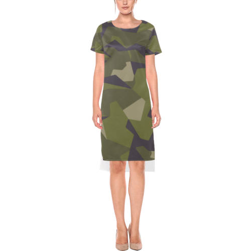 Swedish M90 woodland camouflage Short Sleeves Casual Dress