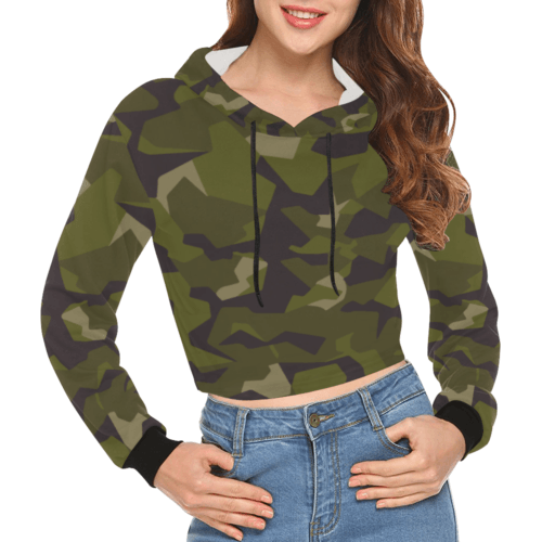 swedish M90 woodland camouflage Crop Hoodie for Women